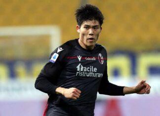 Tomiyasu in azione col Bologna