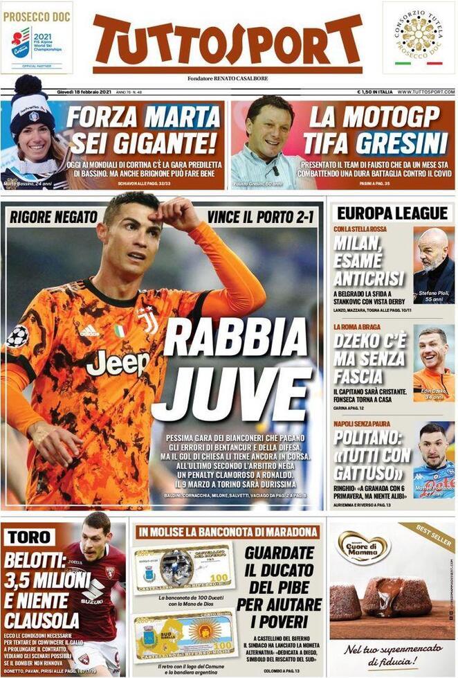 TuttoSport, la prima pagina del 18 febbraio 2021