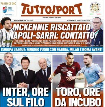 TuttoSport, la prima pagina di oggi 26 febbraio 2021