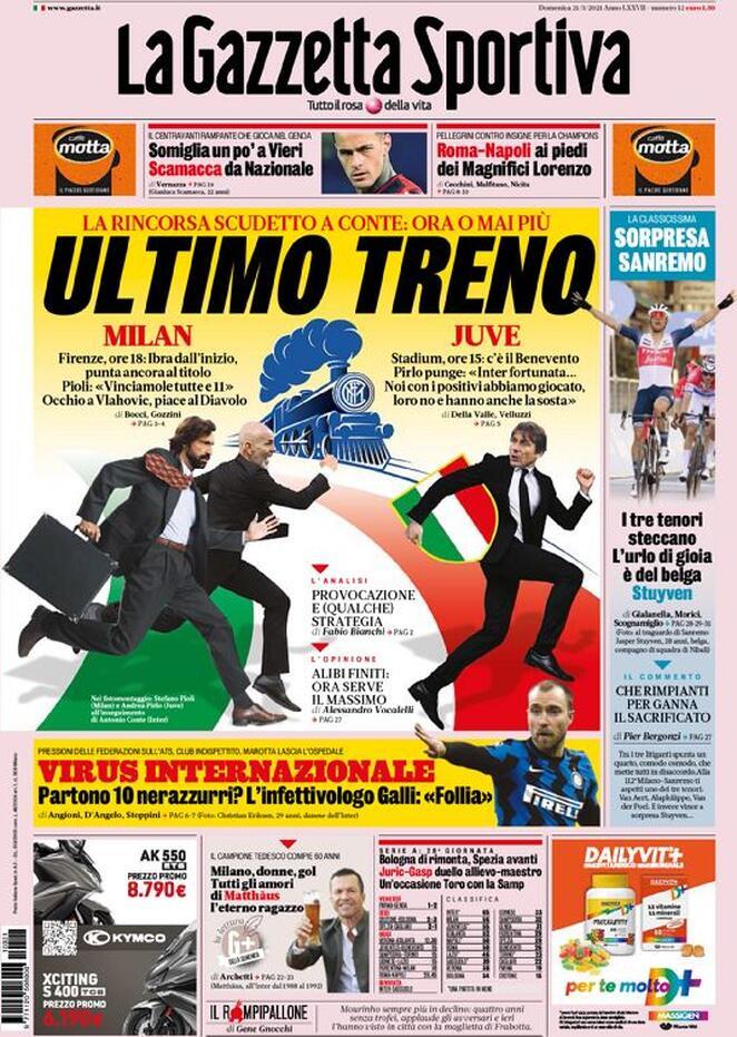 La Gazzetta dello Sport, prima pagina 21 marzo 2021