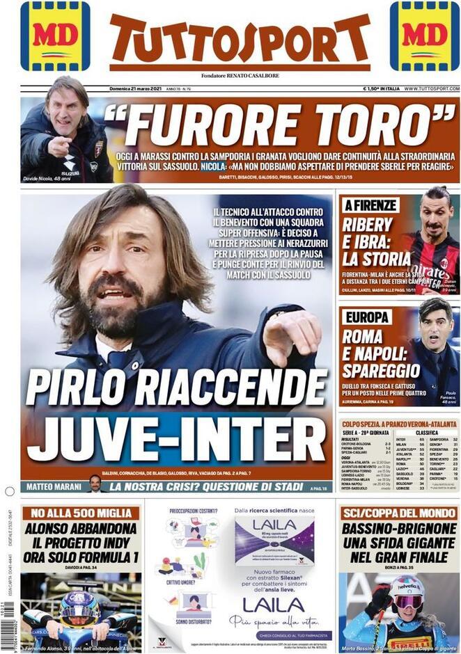 Tuttosport, la prima pagina del 21 marzo 2021