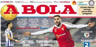 A Bola, la prima pagina di oggi 4 marzo 2021