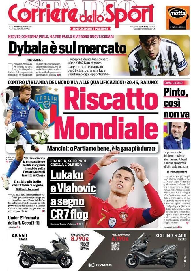 Corriere dello Sport, la prima pagina di oggi 25 marzo