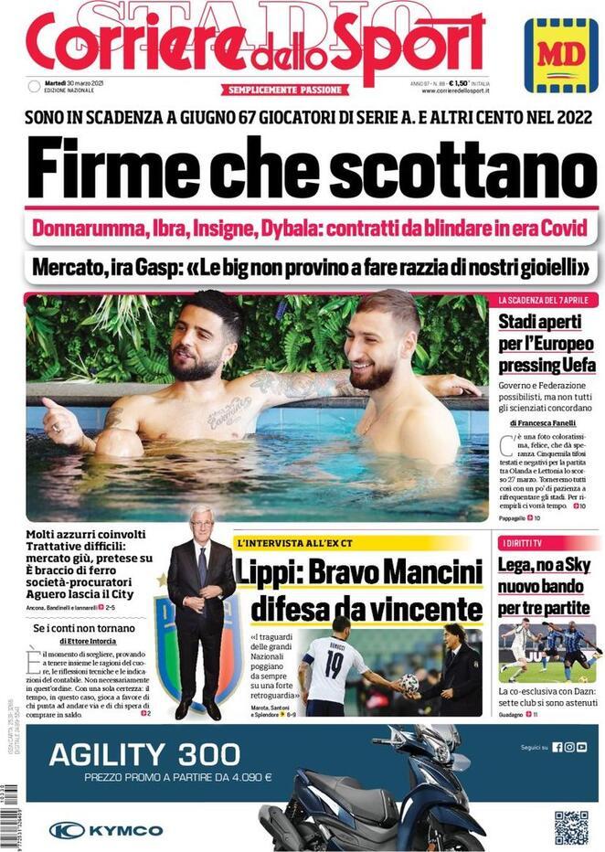 Corriere dello Sport, la prima pagina del 30 marzo 2021