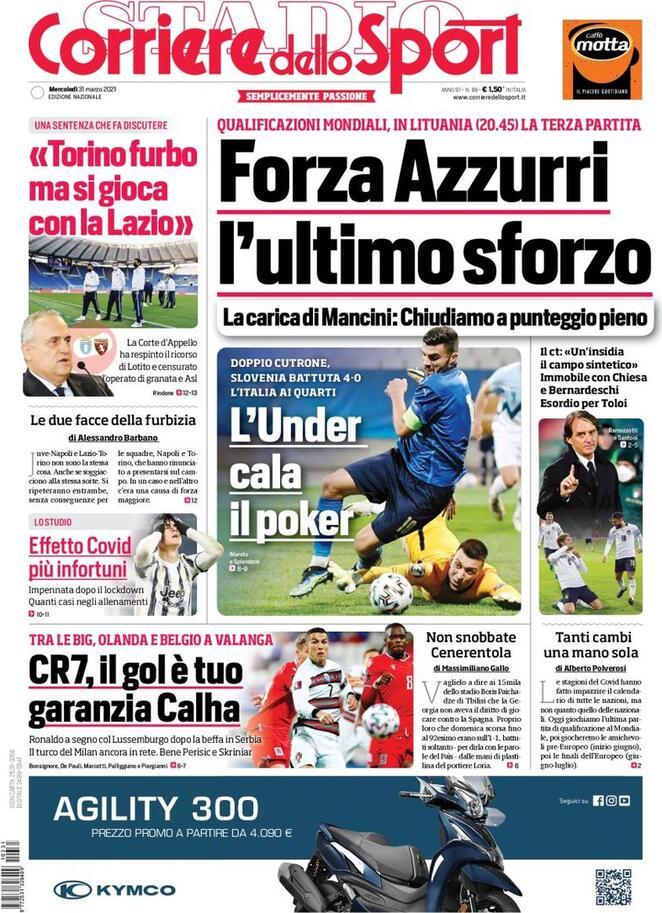 Corriere dello Sport, la prima pagine di oggi 31 marzo