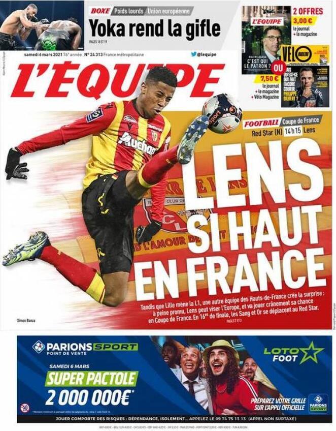 L'Equipe, la prima pagina di oggi 6 marzo 2021