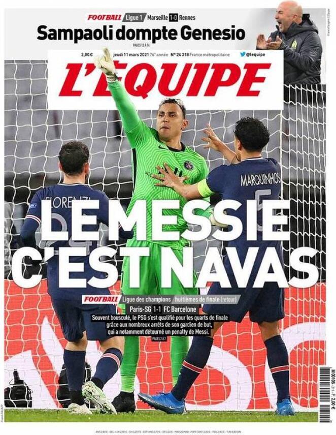L'Equipe, la prima pagina di oggi 11 marzo 2021