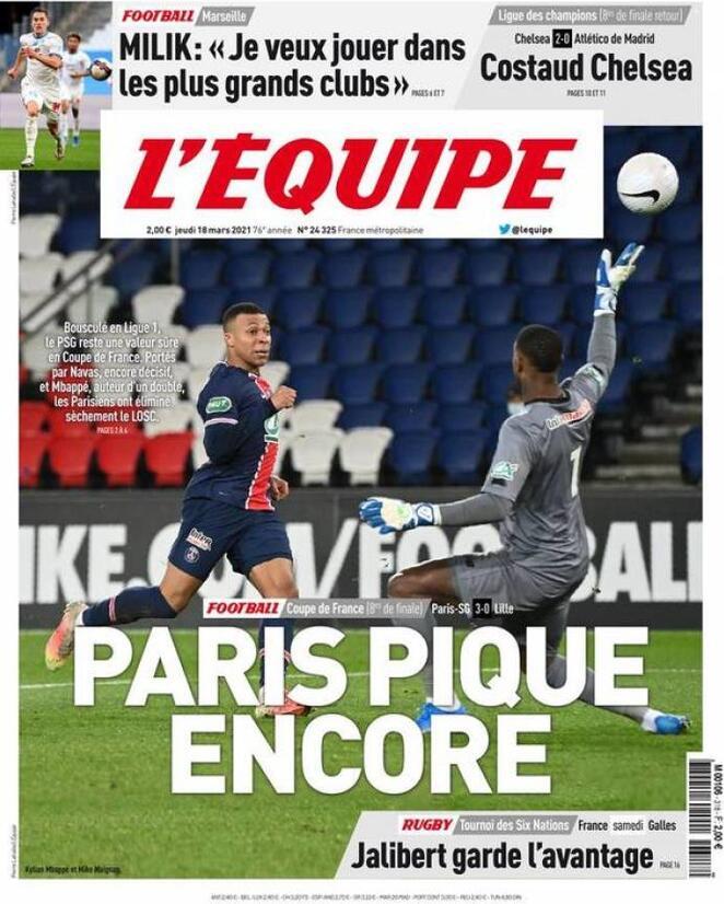 L'Equipe, la prima pagina di oggi 18 marzo 2021