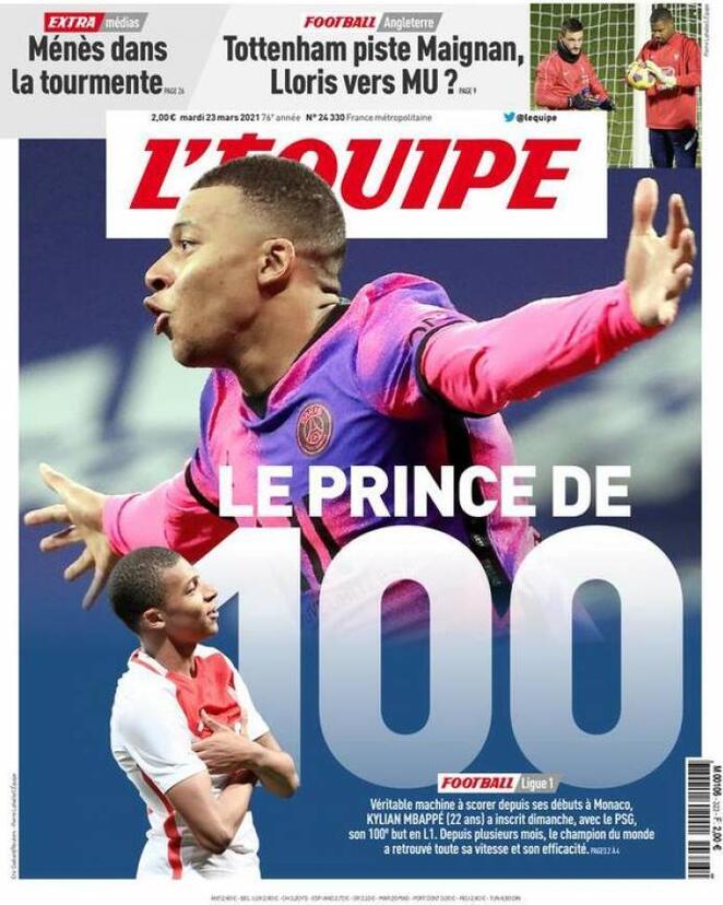 L'Equipe, la prima pagina di oggi 23 marzo 2021