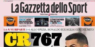 La Gazzetta dello Sport, la prima pagina del 3 marzo