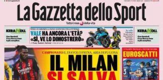 La Gazzetta dello Sport, la prima pagina del 4 marzo 2021