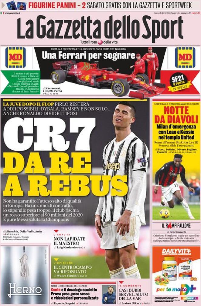 La Gazzetta dello Sport, la prima pagina dell'11 marzo