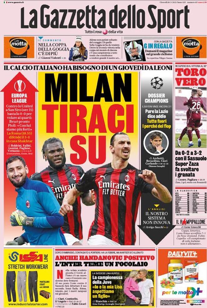 La Gazzetta dello Sport, la prima pagina del 18 marzo