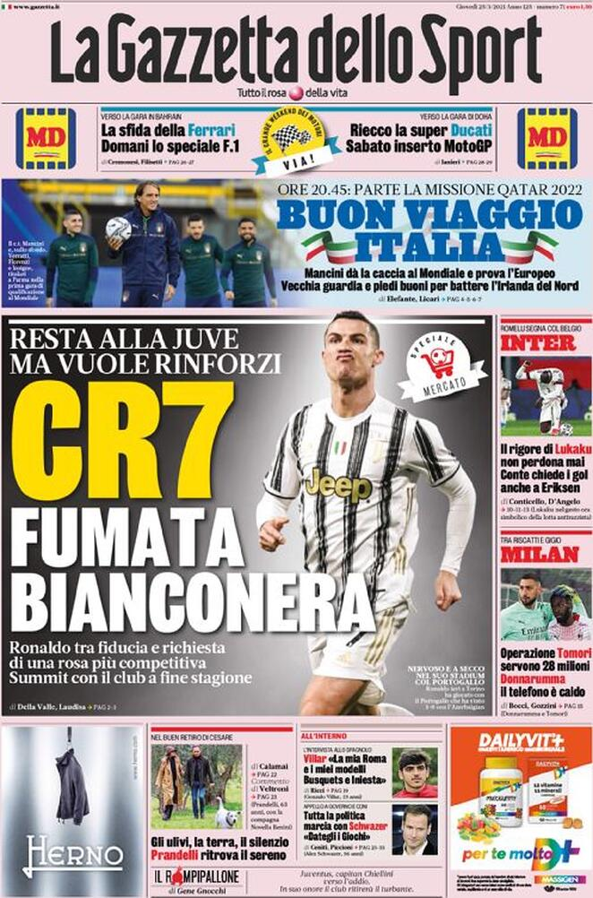 La rassegna stampa di Calciomercato.it vi propone i titoli principali sulla prima pagina di oggi, giovedì 25 marzo 2021, de 'La Gazzetta dello Sport