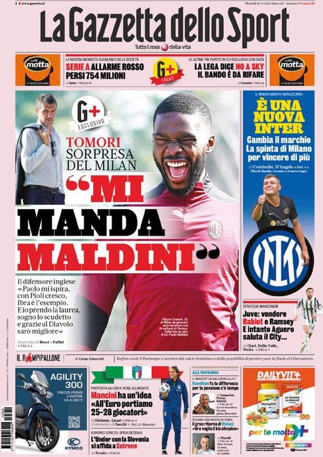 La Gazzetta dello Sport, la prima pagina del 30 marzo