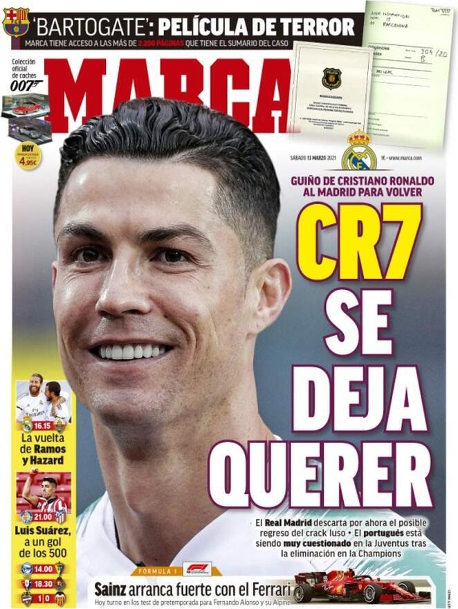 Marca, la prima pagina di sabato 13 marzo 2021