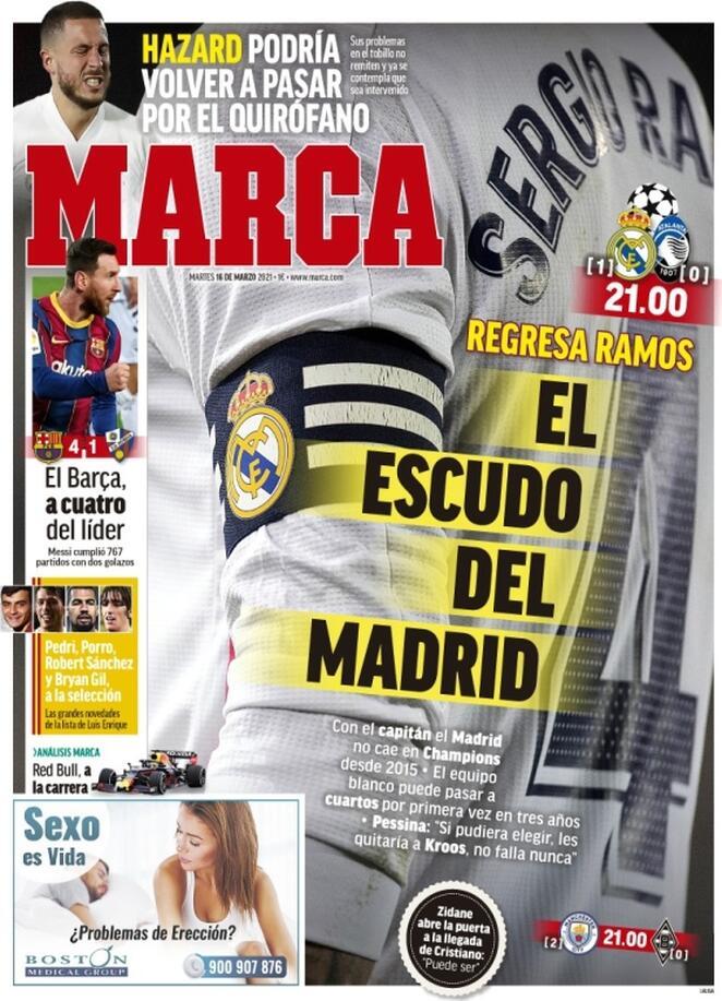 Marca, la prima pagina di oggi 16 marzo 2021
