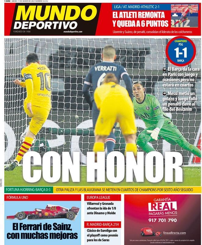 Mundo Deportivo, la prima pagina dell'11 marzo 2021