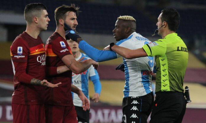 Roma-Napoli, scintille in campo tra Osimhen e Mancini