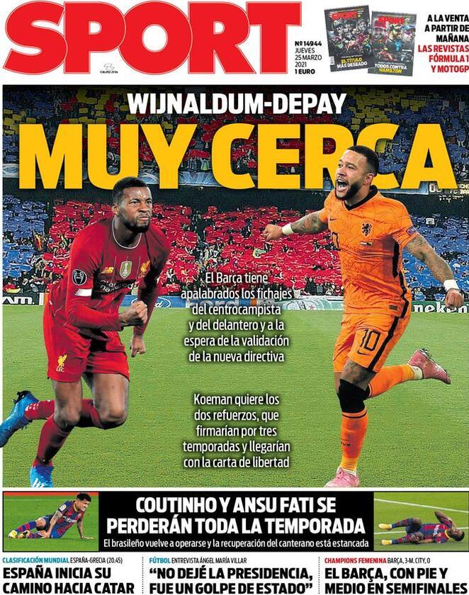 Sport, la prima pagina di oggi 25 marzo 2021
