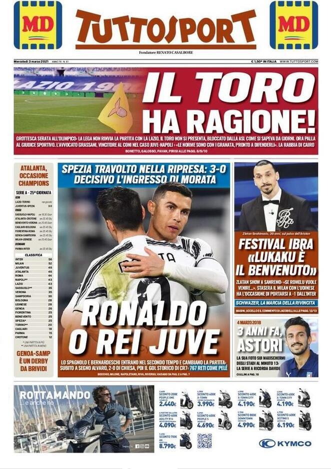 TuttoSport, la prima pagina di oggi 3 marzo 2021