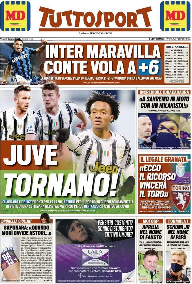 TuttoSport, la prima pagina di oggi 5 marzo 2021