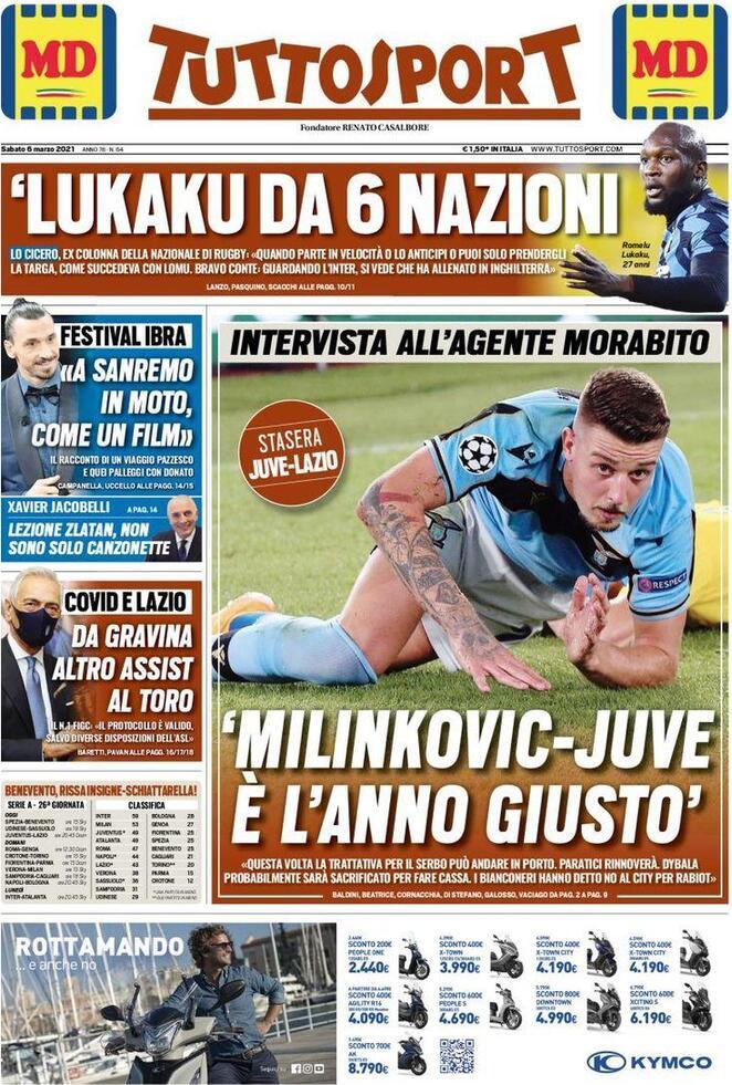 TuttoSport, la prima pagina di oggi 6 marzo 2021