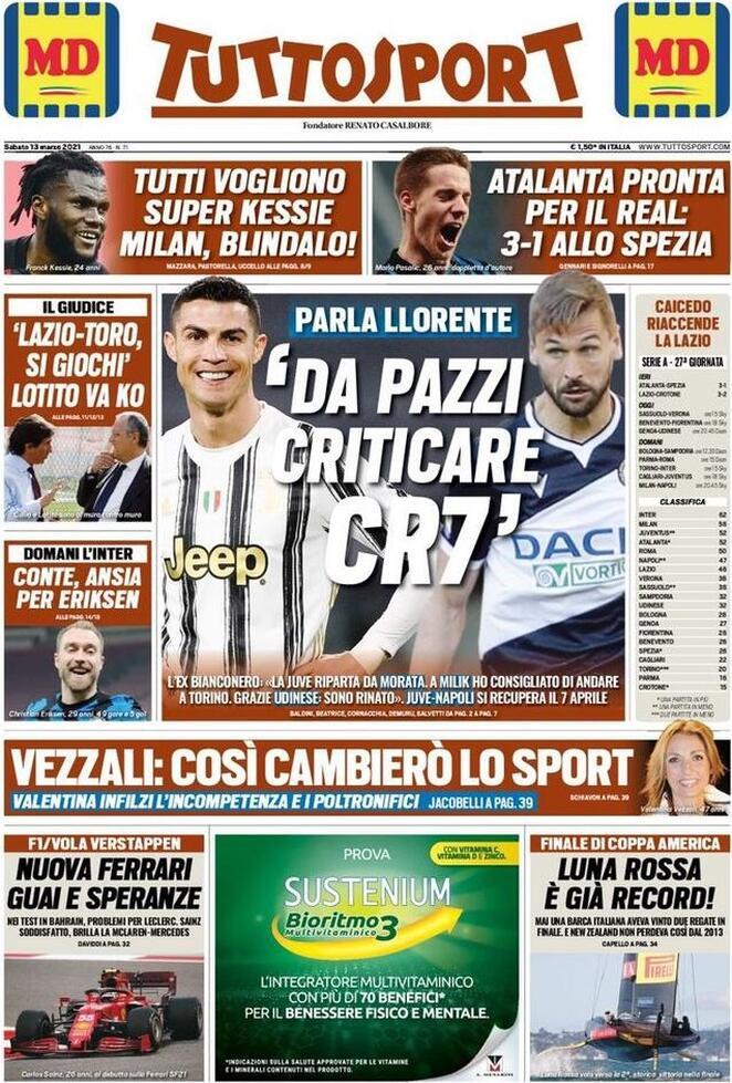 Tuttosport, prima pagina di sabato 13 marzo 2021