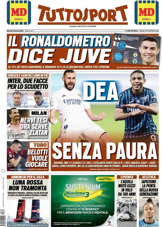 TuttoSport, la prima pagina di oggi 16 marzo 2021