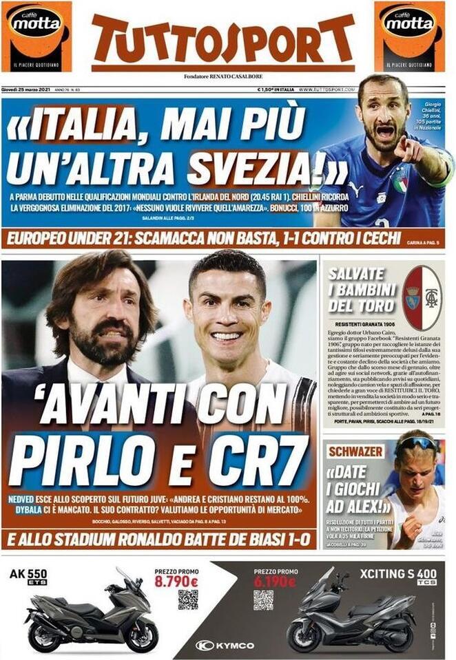 TuttoSport, la prima pagina di oggi 25 marzo 2021
