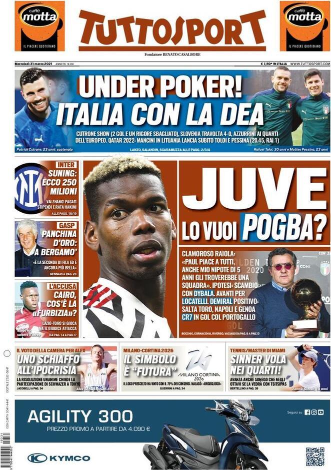 TuttoSport, la prima pagina di oggi 31 marzo 2021