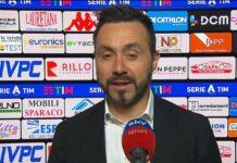 """Benevento-Sassuolo, De Zerbi: """"Giochiamo sempre per vincere"""""""