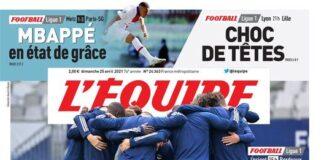 L'Equipe, prima pagina 25 aprile 2021