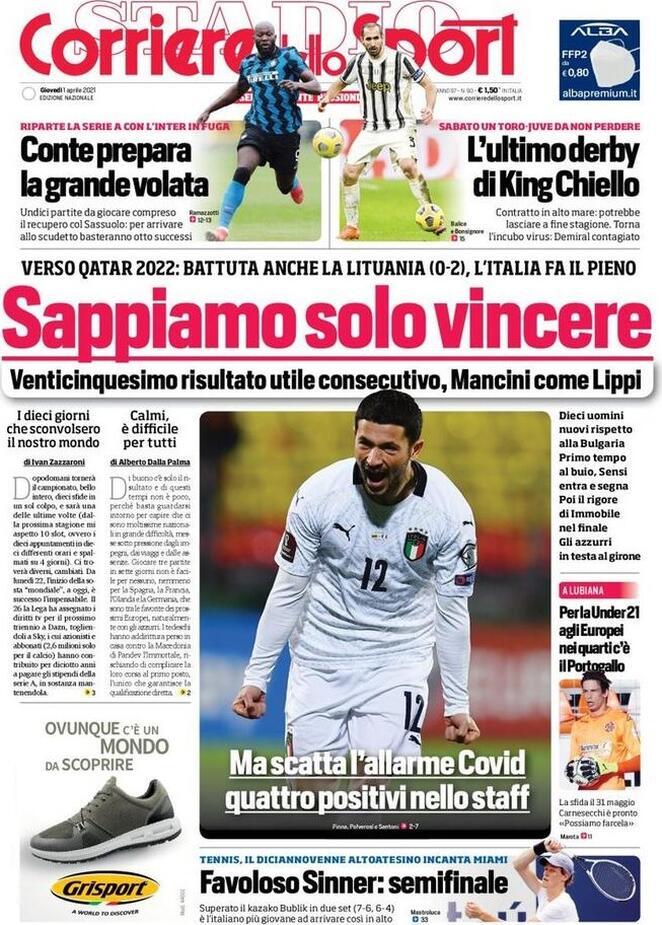 Corriere dello Sport, la prima pagine del 1 aprile 2021