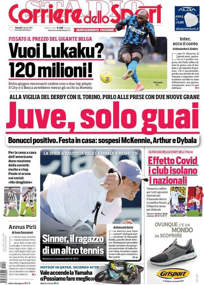 Corriere dello Sport, la prima pagina del 2 aprile 2021