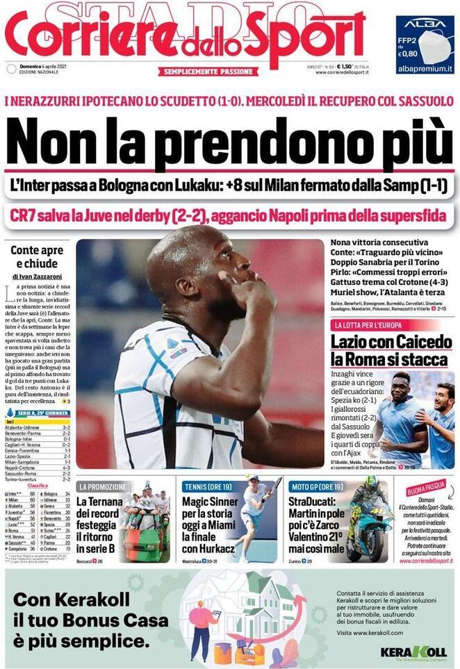 Corriere dello Sport, la prima pagina del 4 aprile 2021