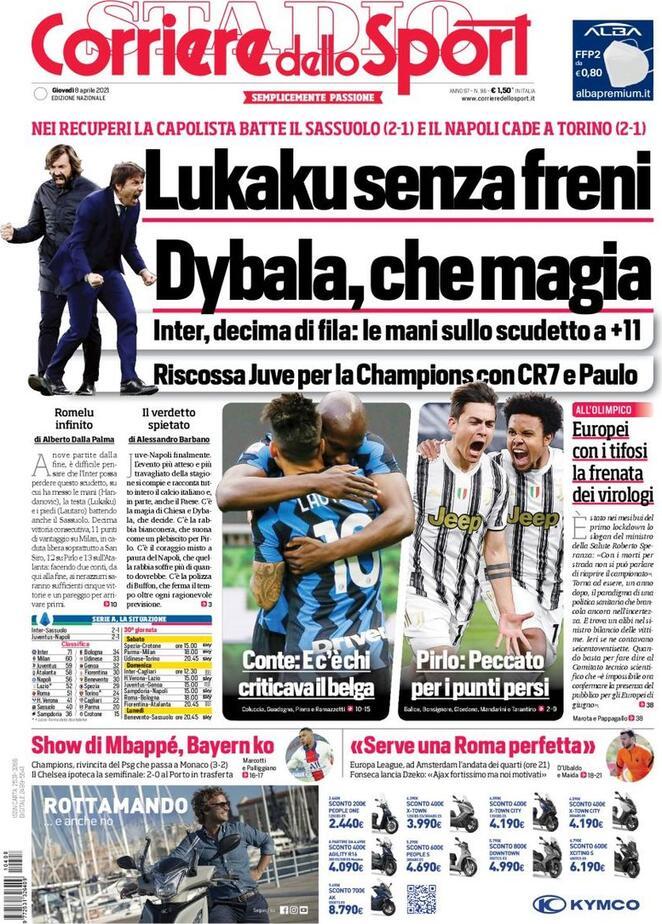 Corriere dello Sport, la prima pagina dell'8 aprile 2021