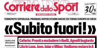 Corriere dello Sport, la prima pagina di oggi 20 aprile