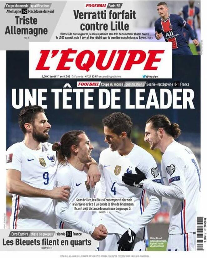 L'Equipe, la prima pagina di oggi 1 aprile