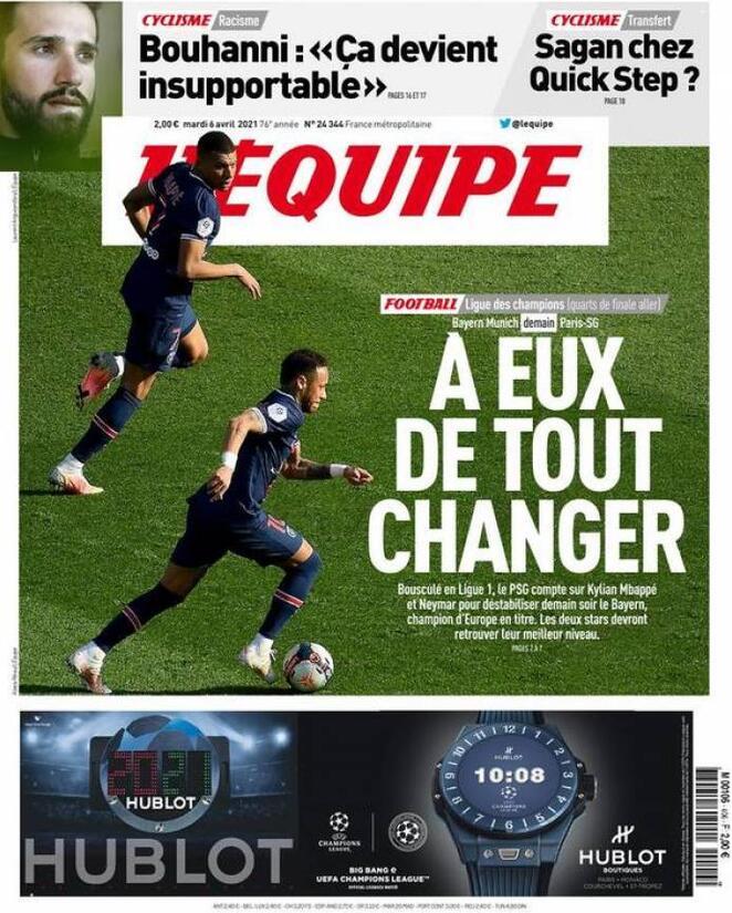 L'Equipe, la prima pagina di oggi 6 aprile 2021
