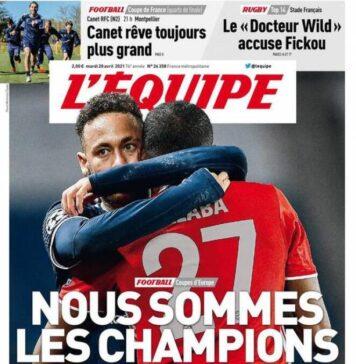 L'Equipe, la prima pagina di oggi 20 aprile 2021
