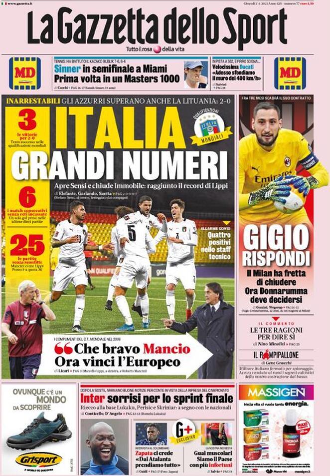 La Gazzetta dello Sport, la prima pagina di oggi 1 aprile