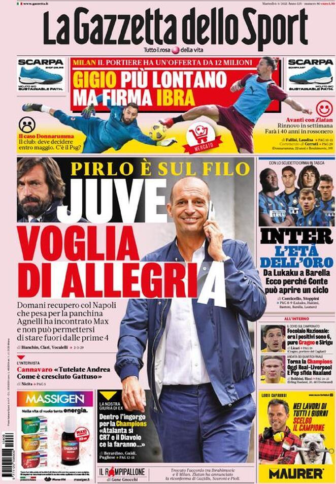 La Gazzetta dello Sport, la prima pagina del 6 aprile
