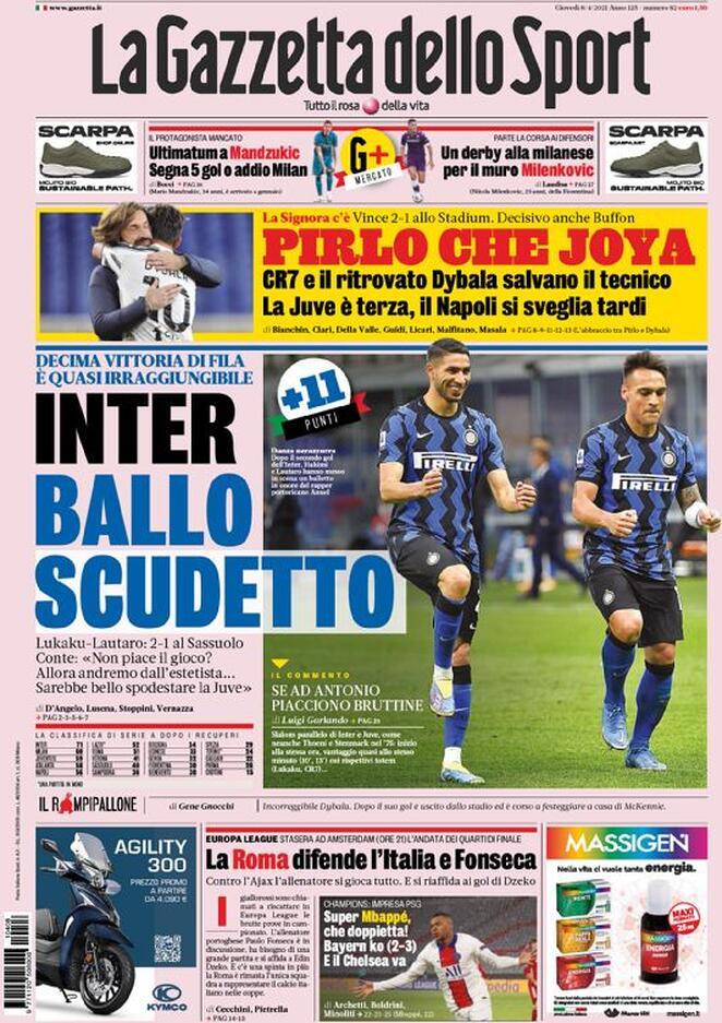 La Gazzetta dello Sport, la prima pagina dell'8 aprile