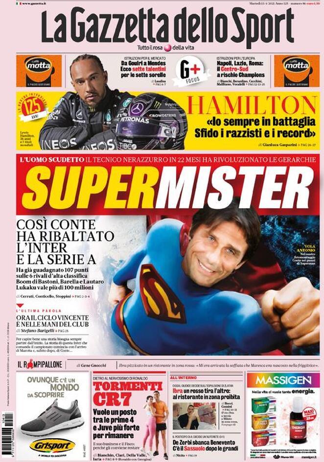 La Gazzetta dello Sport, la prima pagina del 13 aprile