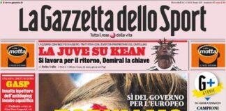 La Gazzetta dello Sport, la prima pagina di oggi 14 aprile