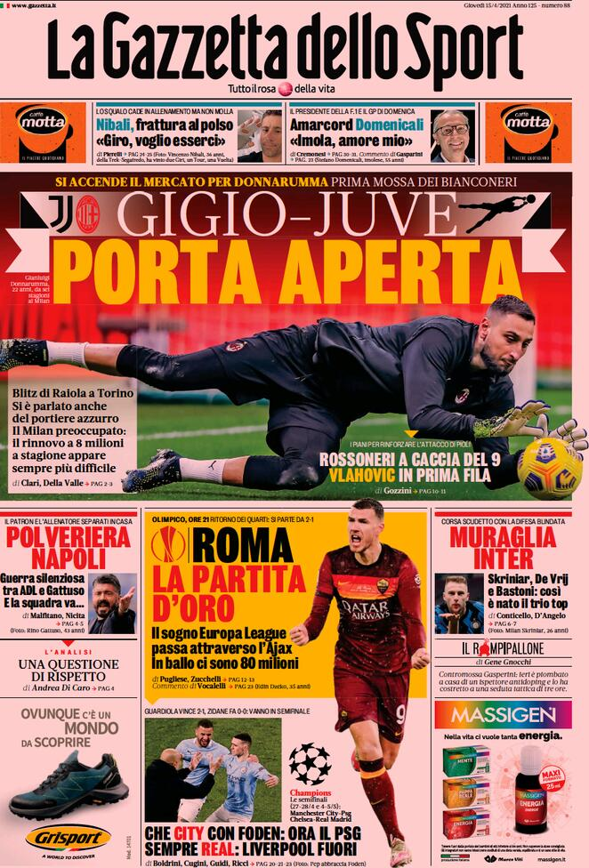 La Gazzetta dello Sport, la prima pagina del 15 aprile
