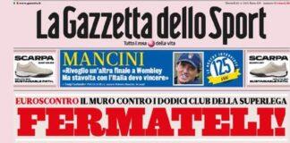 La Gazzetta dello Sport, la prima pagina di oggi 20 aprile