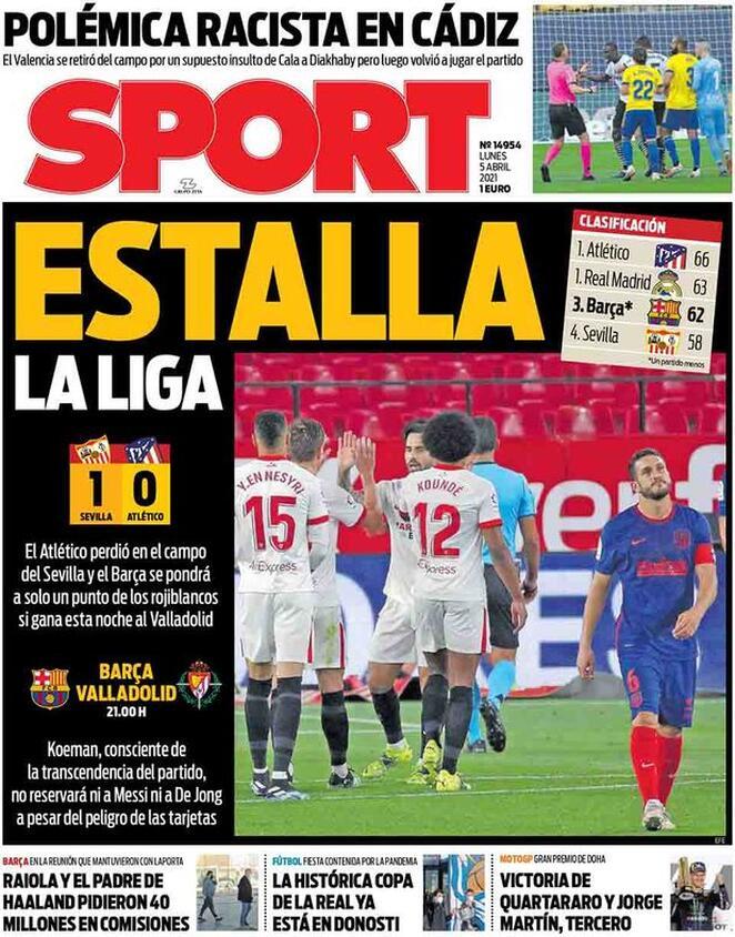 Sport, la prima pagina di oggi 5 aprile 2021