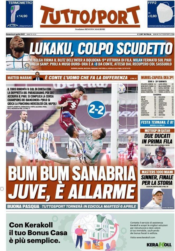 Tuttosport, la prima pagina del 4 aprile 2021